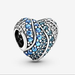 Pandora wavy mosaic heart charm